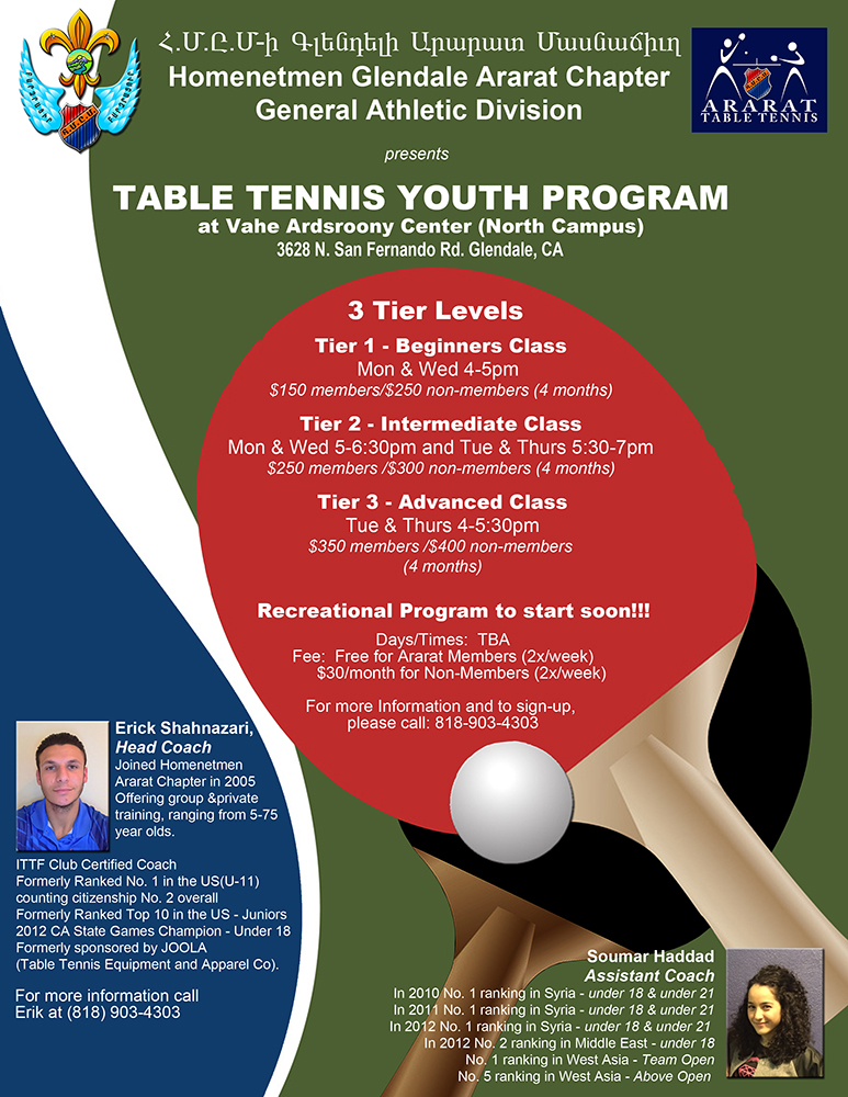 Table Tennis Youth Program