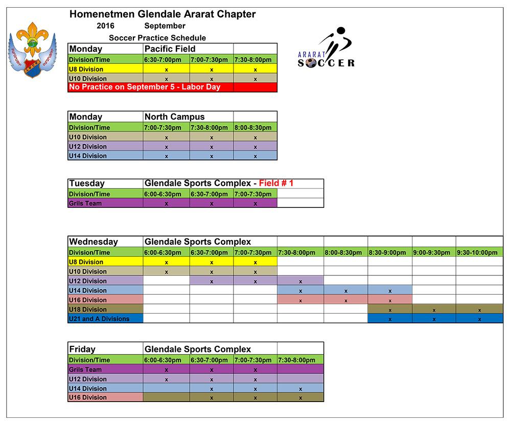 Soccer September Schedule