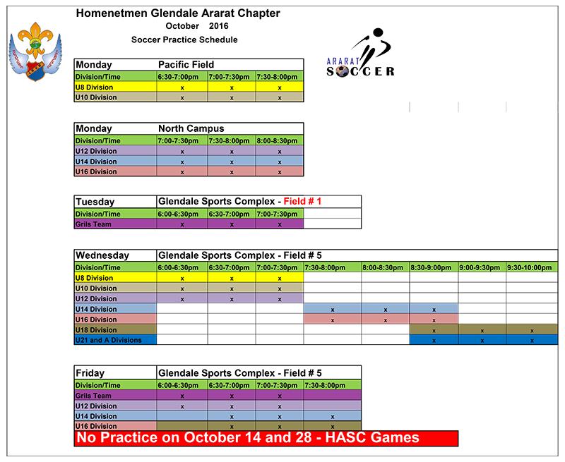 Soccer October Schedule